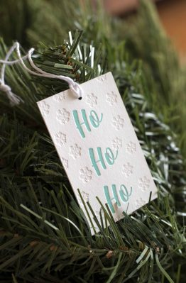 Green christmas Letterpress Gift Tag