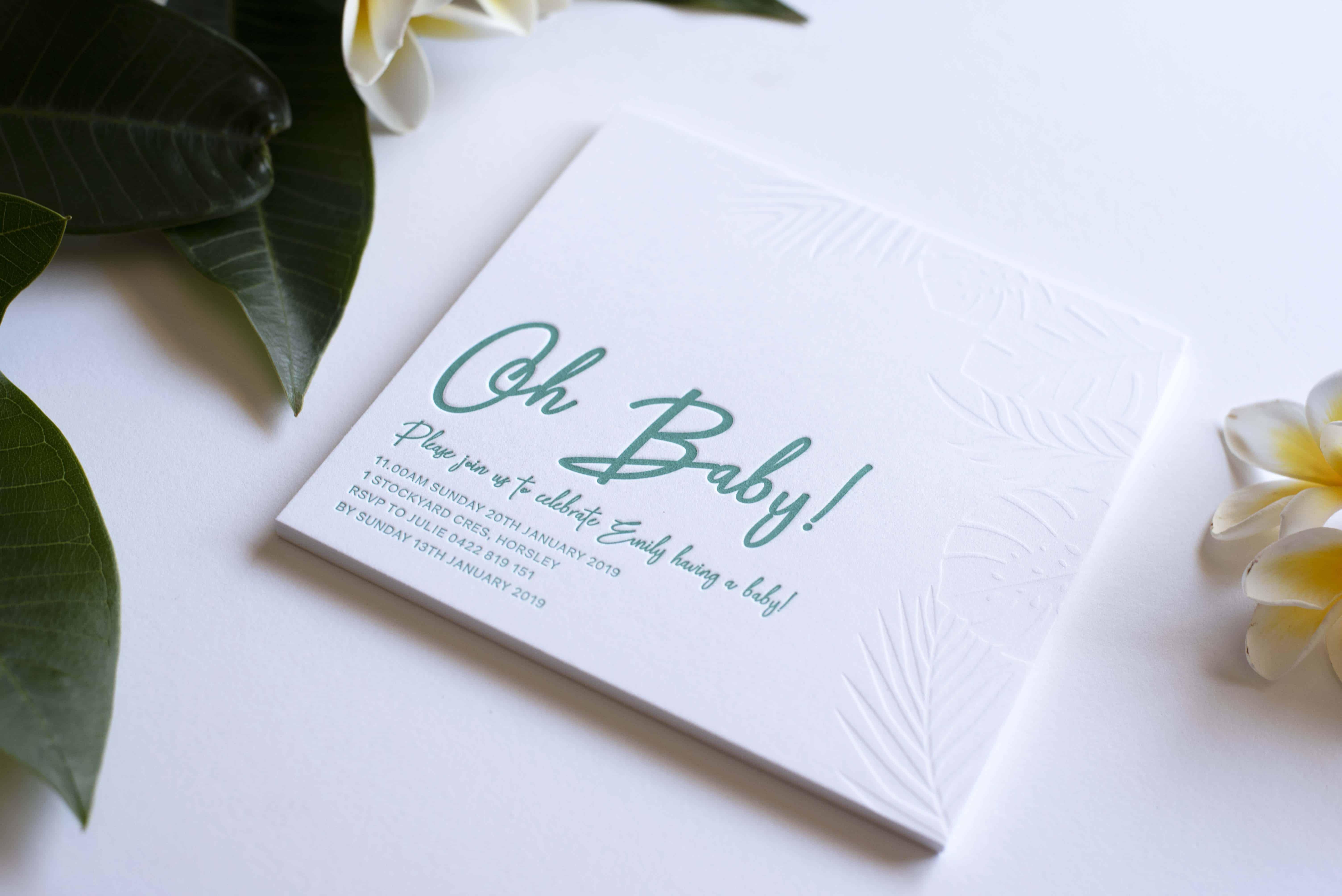 Oh Baby Shower Letterpress Invitation