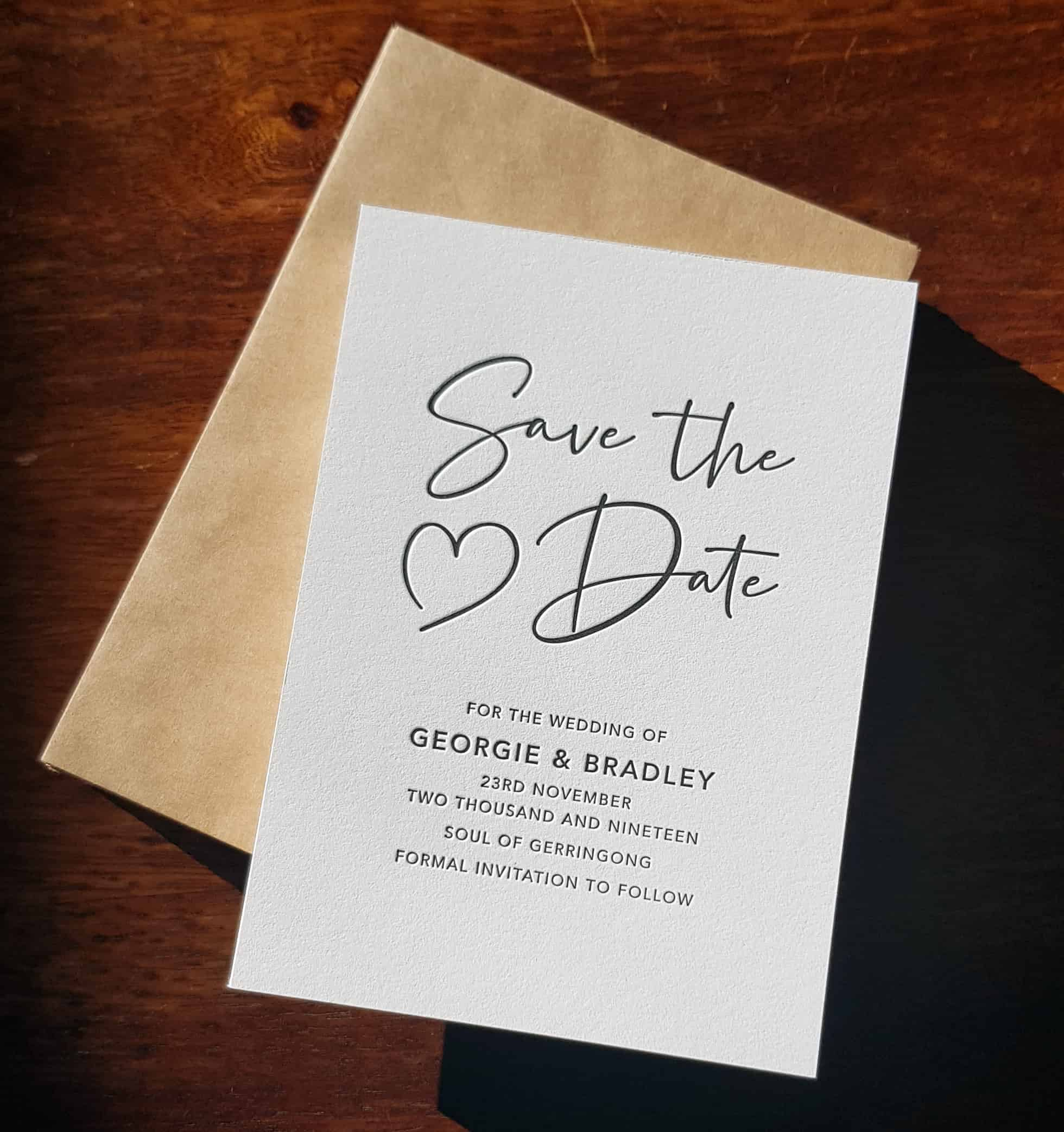 Letterpress Save the Date