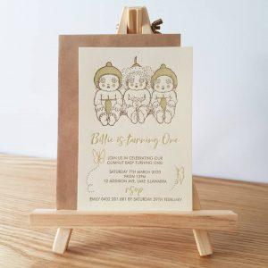 1st Birthday Letterpress Invitation