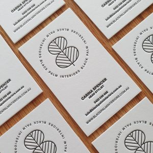 Black Palm Interiors Letterpress Business Card