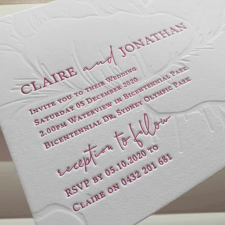 Custom Letterpress Boutique Wedding Stationery Letterpress Wedding Invitation Luxury stationery South Coast Wedding Stationery Wollongong Wedding Invitations