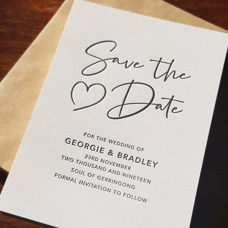 Letterpress Save the Date South Coast Wedding Stationery Invitation Designer Personalised Stationery Boutique Wedding Stationery