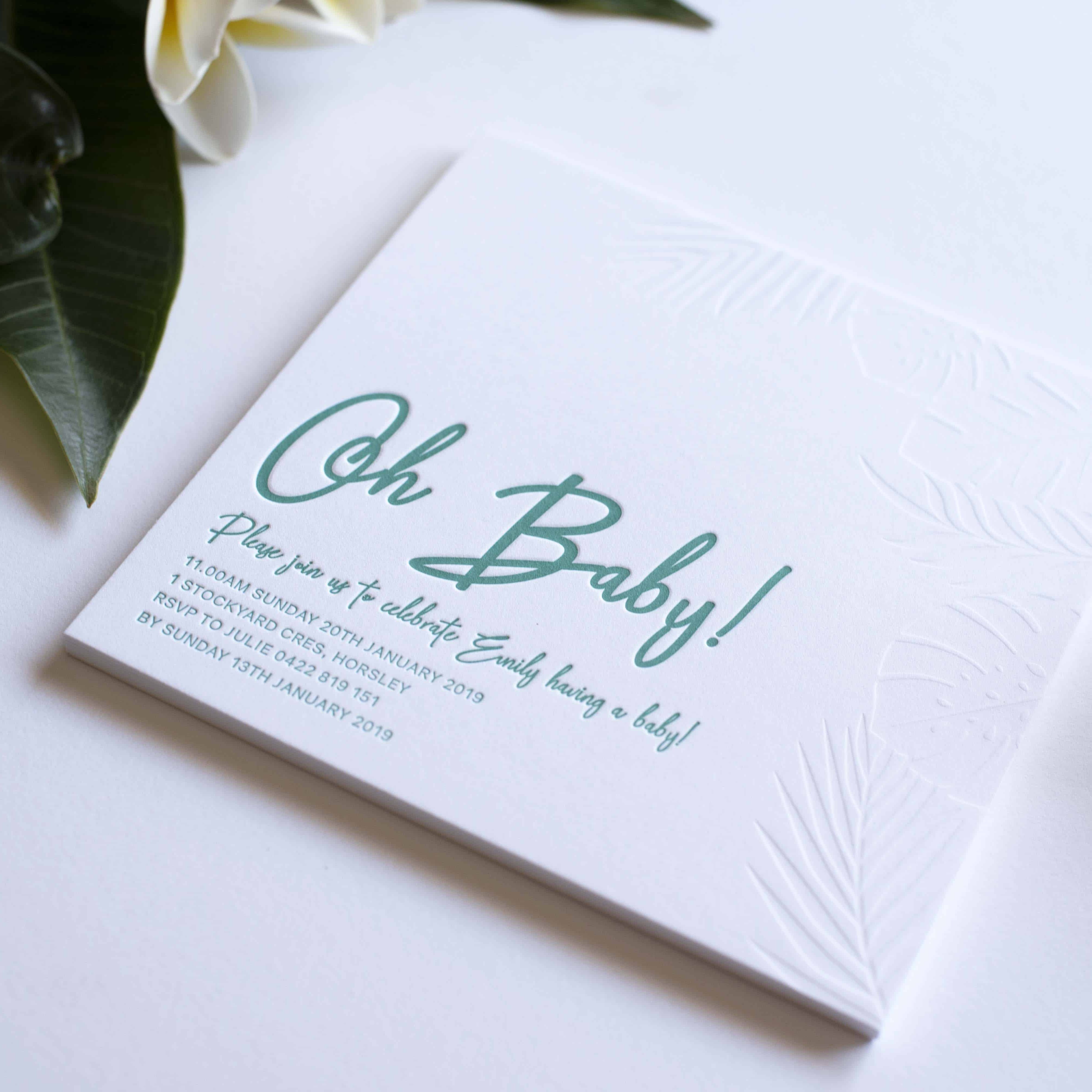 Oh Baby Shower Letterpress Invitation